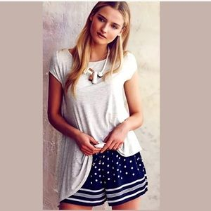 ANTHROPOLOGIE Dotted Line Shorts ELEVENSES Navy